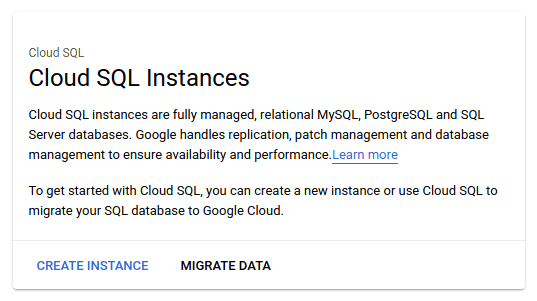 This image cotnains the screenshot from cloud sql create instance page