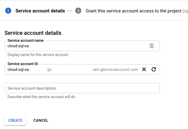 The image contains the screenshot showing how to provide the service account name for the cloud sql service account