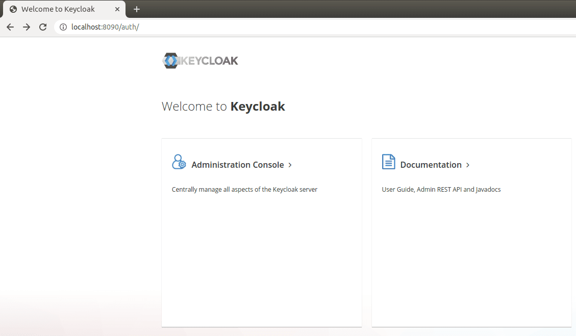 The image shows a home page of the Keycloak server
