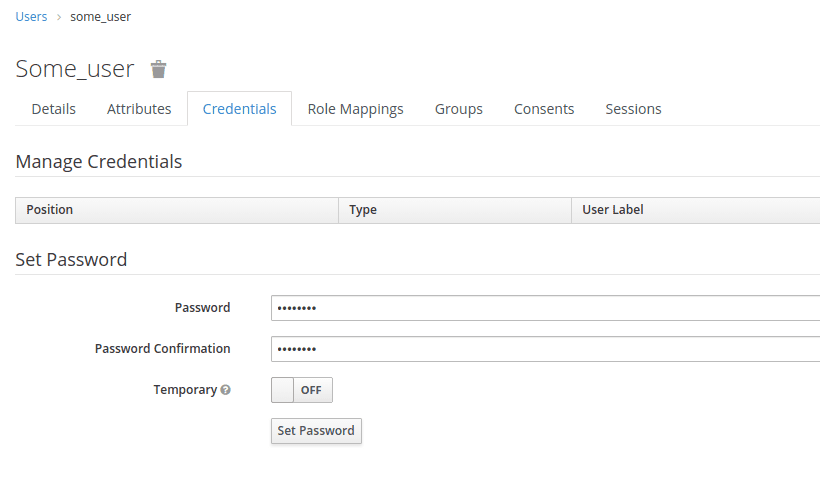 Image shows how to set the password for user in Keycloak