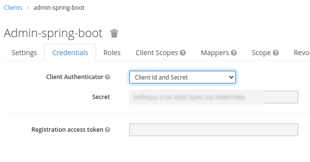 Image contains a screenshot from Keycloak client app showing how to get credentials for Keycloak client.
