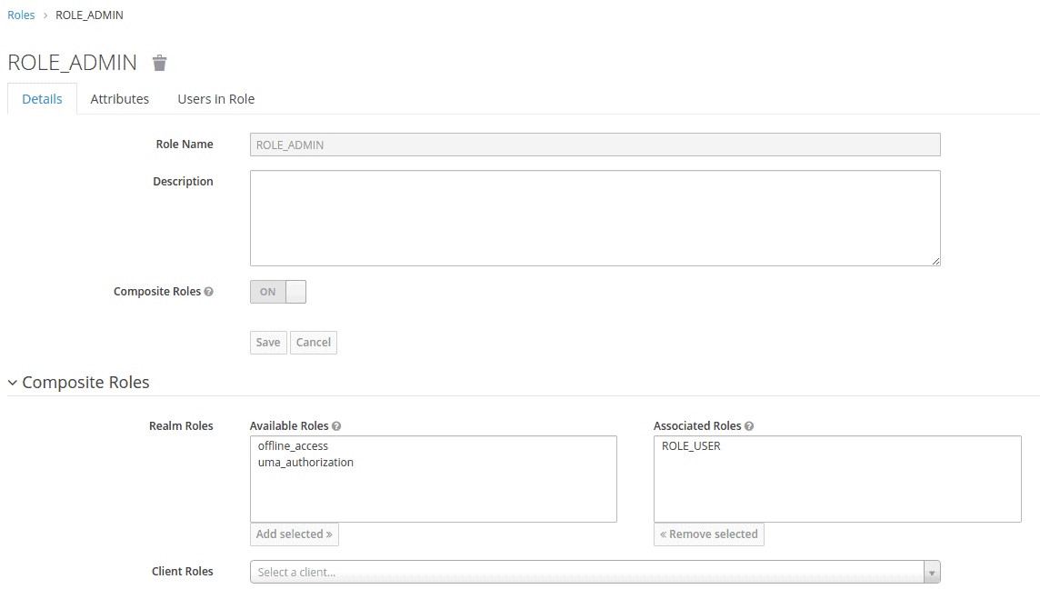 Image shows how to set up the admin role in Keycloak