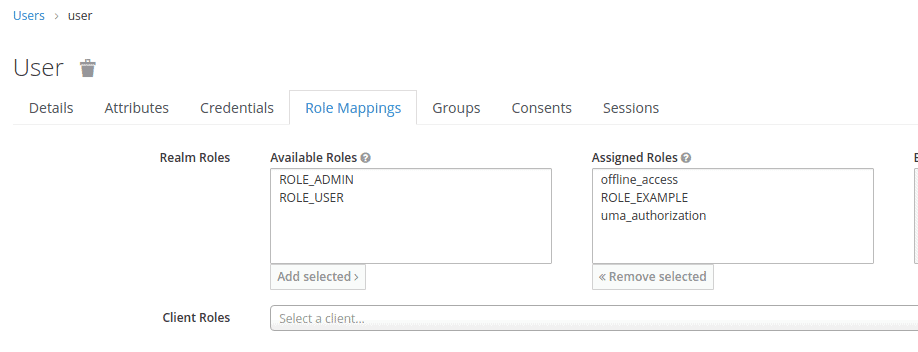 The image shows user assigned roles in Keycloak Admin Console.